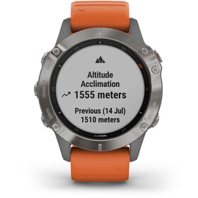 Garmin Fenix 6 Sapphire Titanium Multisport GPS Smartwatch, grey/silver/orange Wristband